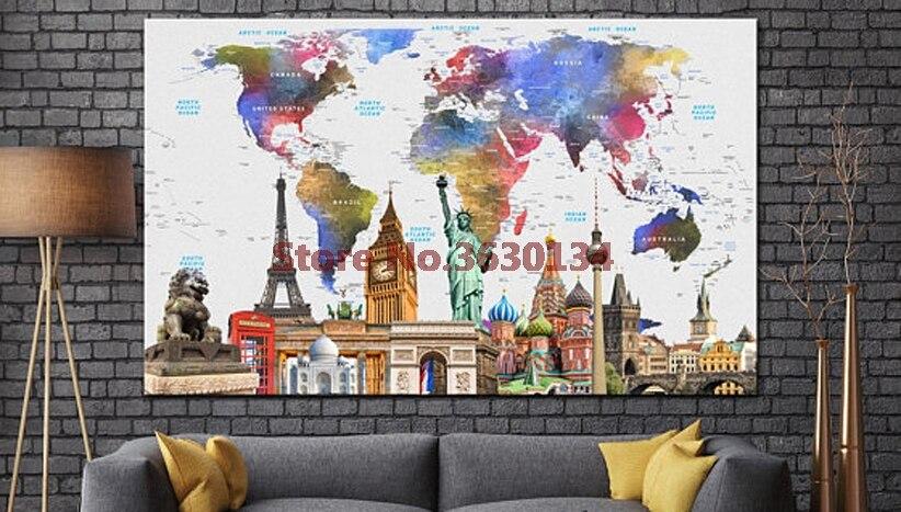 خريطة العالم 5d اليدويه الماس اللوحة - الفنون والحرف والخياطة