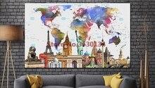 Pasaulio žemėlapis 5d Diy deimantų tapybos peizažas Kryžiaus stitch Deimantiniai siuvinėjimai Pilna deimantų mozaikos Needlewrok namų dekoro