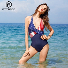 Attraco Women Swimwear V Neck Back Cross Backless American Flag Striped Push-up Beachwear Bathing suit Swimsuit Bikini One Piece