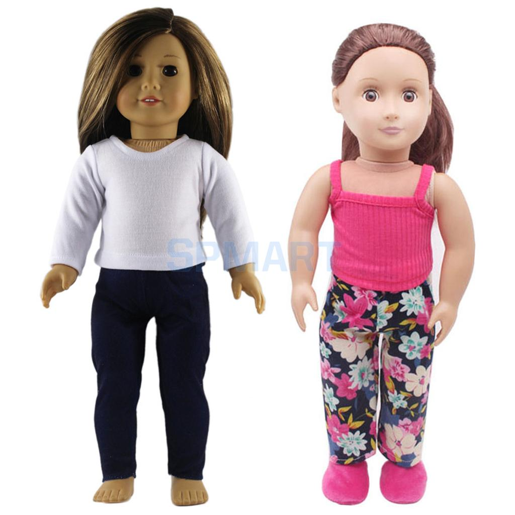 2 suits Shirt Tank Tops Trousers suit for 18 inch American Girl Doll Our Generation Doll Camisole Vest Dress Outfits Sleepwear