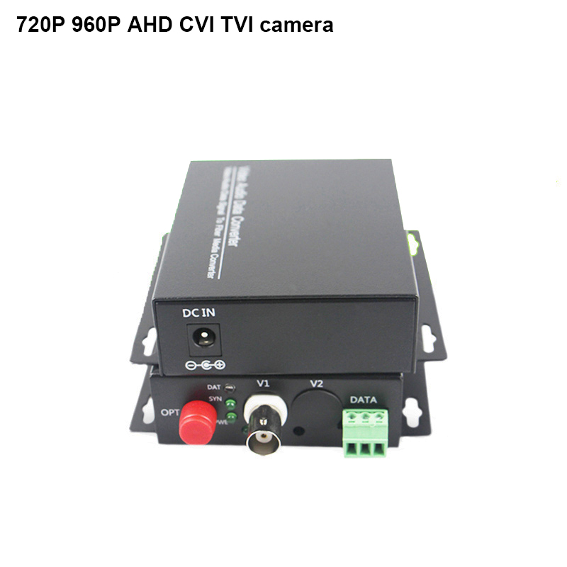 20KM AHD CVI TVI Fiber optical converter 720P 960P video fiber optic transmitter single mode single fiber receiver rs485