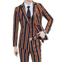 Suit + Jacket Pants 3 Pieces Sets / Fashion Men Business Dress Suits Vertical Stripes Blazers Coat Trousers Waistcoat