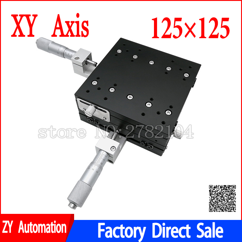 XY Axis 125*125mm Trimming Station Manual Displacement Platform Linear Stage Sliding Table XY125-L LY125-R XY125-CM Cross Rail
