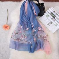 2019 New Women Shawls Scarves Silk Muslim Hijab Lady Bufanda Pashmina Embroidery Flower Mantilla Shawl Wool Wrap Soft Scarf