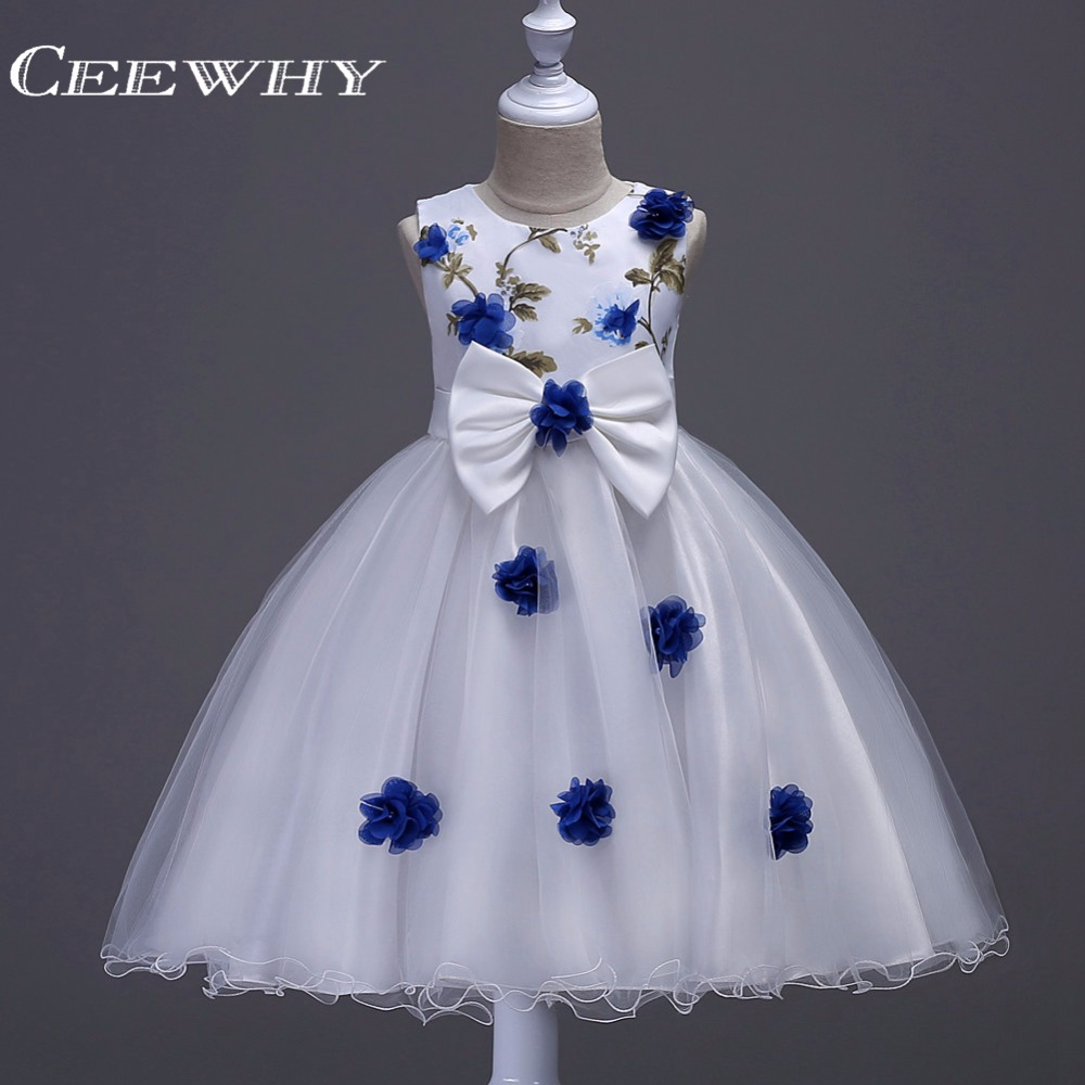 CEEWHY Floral Printed Appliques Kommunionkleid Communion   Dresses   for   Girls   Robe de Mariee Courte   Flower     Girl     Dresses