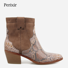 Women shoes Zipper Boots Snake Print Ankle Square heel Fashion Pointed toe Ladies Sexy 2019 Spring New Chelsea