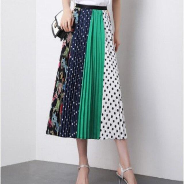 2019 Summer Women Long Pleated Skirt Plus Size Cartoon Print White Black Pleated Skirt Elastic Casual High Waist Skirt 6