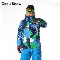 Gsou снег Для мужчин Водонепроницаемый Лыжная куртка синий сноуборд одежда спортивный топ прогрева красный ветрозащитная зимняя куртка 1416