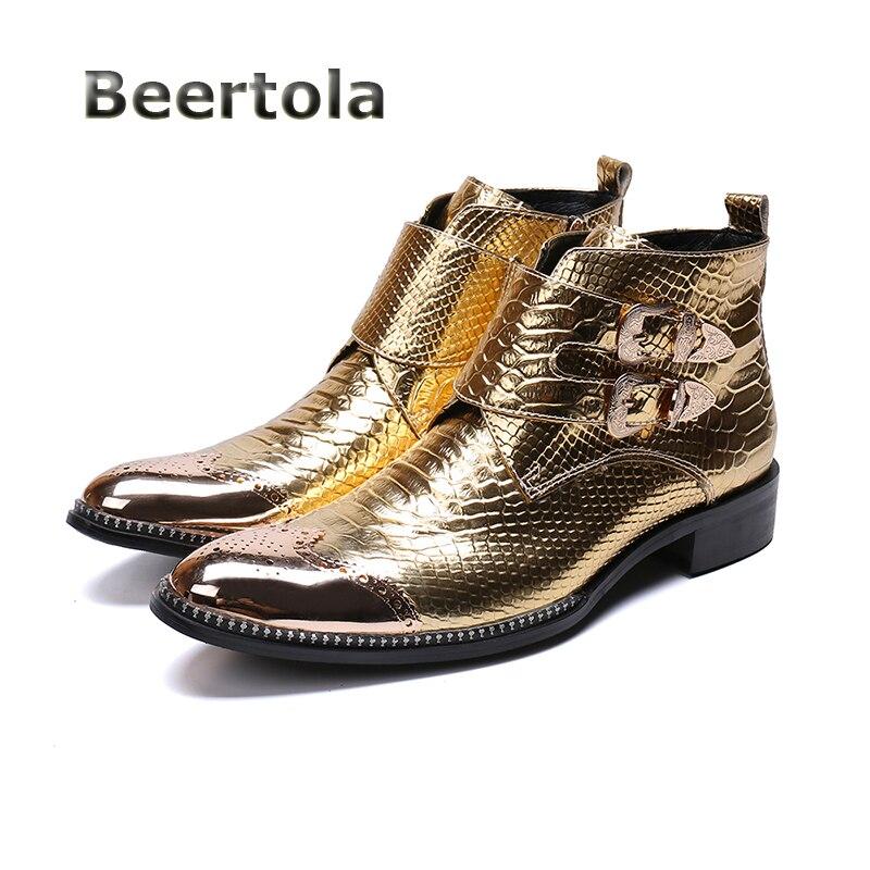 a9d582e232c810 Hommes Serpent Chaussures Beertola Bottes Cheville or Orteil Cuir Boucle De  Peau Homme Mode En Métal ...
