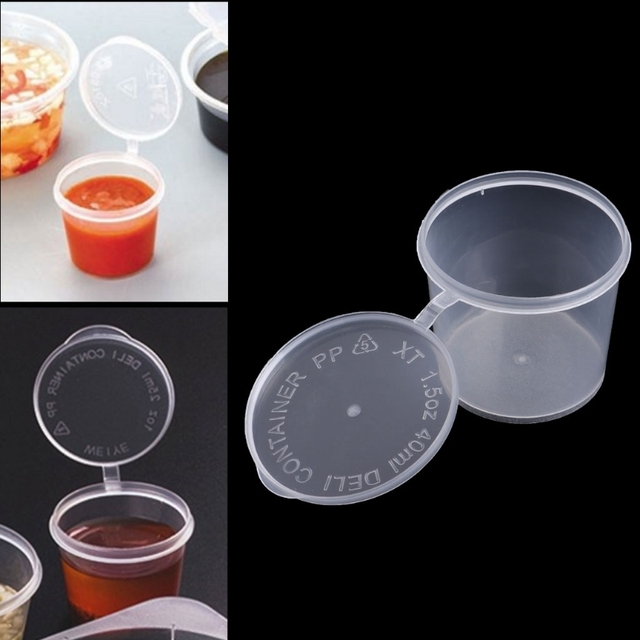 2640e9834120 US $1.45 14% OFF|Plastic Disposable Sauce Cup Clear Salad Dressing Food  Storage Containers + Lids-in Bottles,Jars & Boxes from Home & Garden on ...