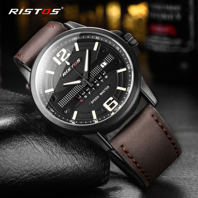 ae653e4469f4 RISTOS Quartz Men Watch Sport Genuine Leather Watches Reloj Masculino  Hombre Male Wristwatch Fashion Analog Calendar Watch 9322