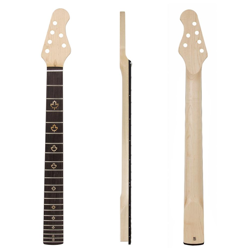 Kmise Electric Guitar Neck Canada Maple 22 Frets HPL Fingerboard Maple Leaf Inlay Dots Bolt On C Shape Clear Satin