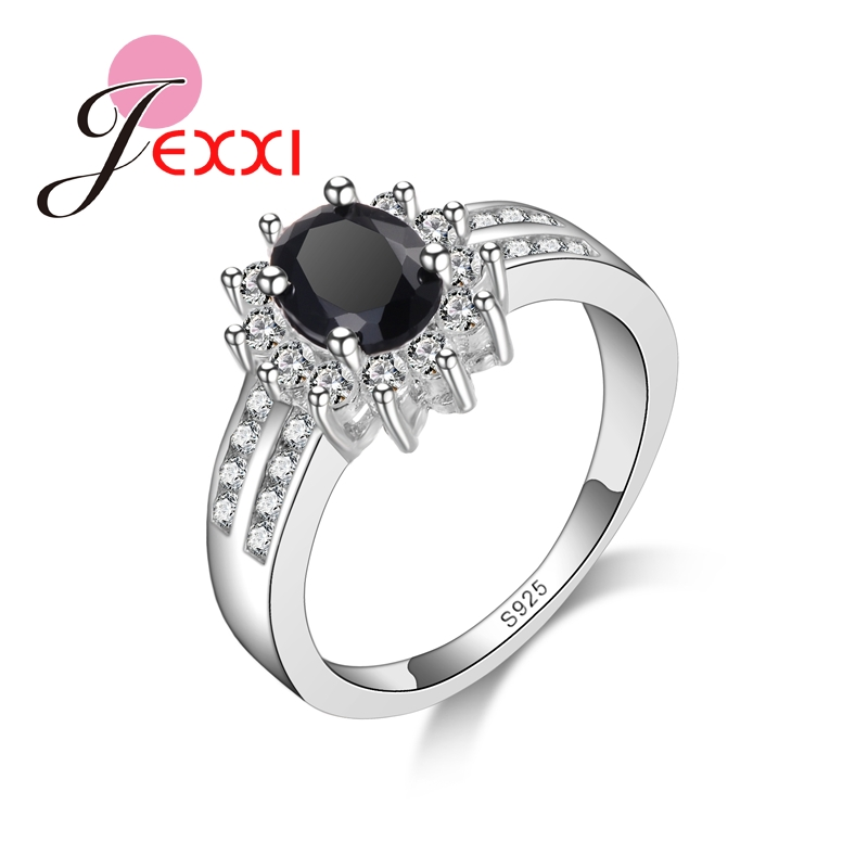 JEXXI Trendy CZ font b Luxury b font Real 925 Sterling Silver Wholesale Ring for Women