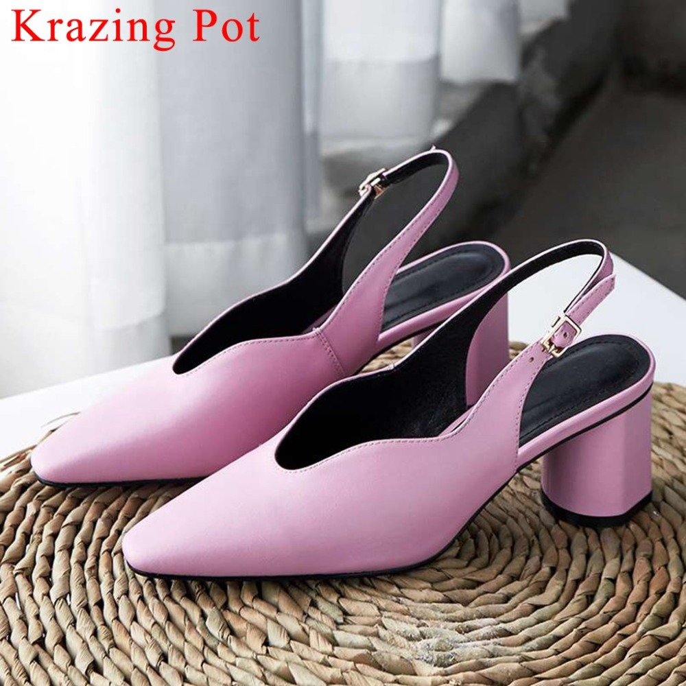 2019 office lady genuine leather large size classic square toe slingback buckle strap strange high heels