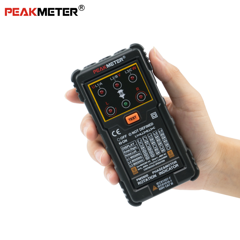 Repair or Maintain 3 Phase System or Motor PM5900 Motor 3 Phase Motor Rotation Indicator Tester Portable Handheld Tester Necessary Tool for Install