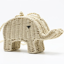 Women straw crossbody bags for women handbag Small elephant cute animal woven shoulder bag handmade beach purse children