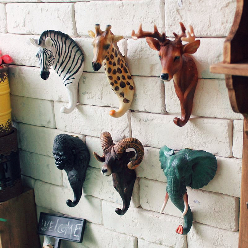 Colorful 3d Animal Heads Resin Hook Clothes Key Hat