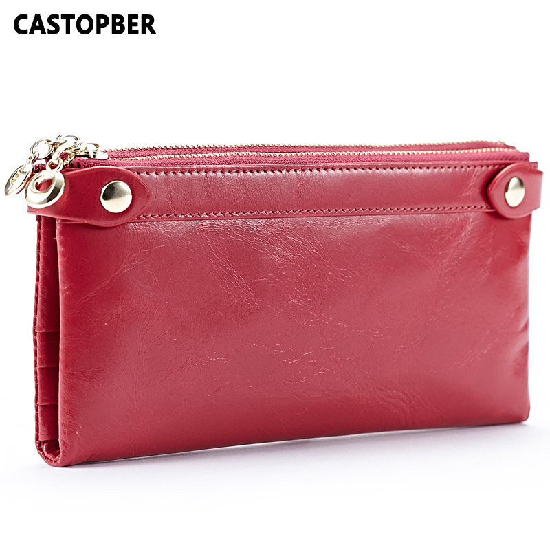 Women Oil Wax Genuine Leather Wallet Purse Card Holder Cowhide Leather Designer Brand High Quality Famous Ladies Female Clutches contact s new high quality red leather genuine wallet women purse card holder brand hasp
