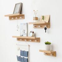Creative partition shelf wall hanging wall solid wood hook rack wall shelf home decotation coat hanger key holder key 4 hooks