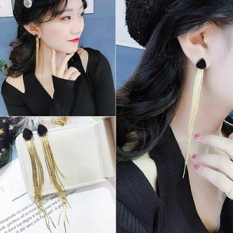 New fashion elegant atmosphere jewelry temperament crystal tassel earrings ladies long wedding earrings