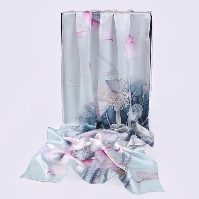 AL01606 New Fashion silk Scarves Air Conditioning Towel digital printing long Crepe Satin Shawl Women 100% Silk Scarf