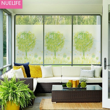 60x100cm Green Tree Design Window Electrostatic Glass Film Bathroom Living Room Kitchen Balcony Door Window Glass Film