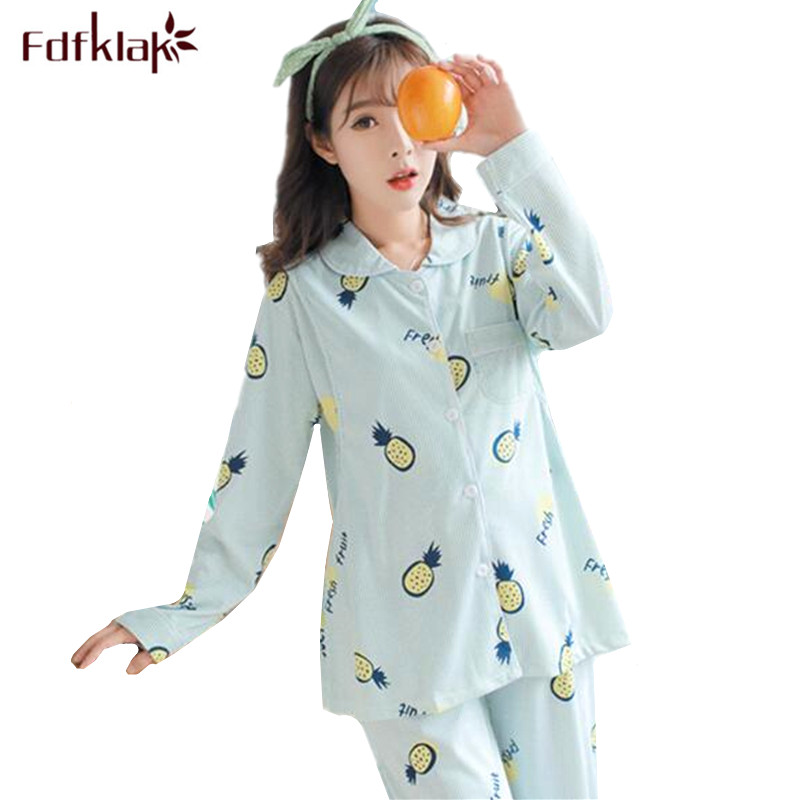 Fdfklak Nursing Pijama Pregnant Women Pajamas Long Sleeve Print Pregnancy Clothes Cotton Maternity Nightwear Hamile Pijama