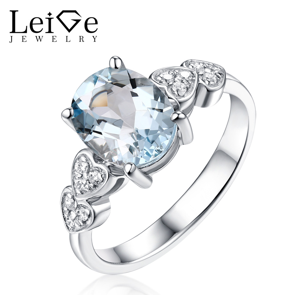 Leige Jewelry Prong Setting Blue Gemstone Real Aquamarine Rings for Women Fine Jewelry Oval Cut Sterling Silver Engagement Ring