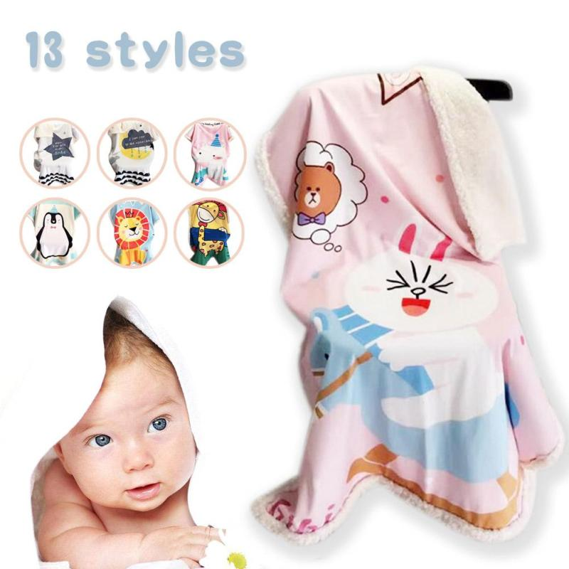 Cotton Velvet Baby Double Decker Blanket Winter Cartoon Swaddle Soft Air Conditioning Stroller Baby Bed Newborn Wrap Blanket XV3 star sign decorative thread blanket 130 180 180 220 230 250cm twelve constellations sofa or bed cotton air conditioner blanket