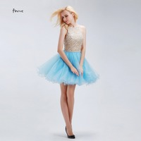 Robe De Cocktail Dresses Finove Fantastic Newly Designed Crystals Short Party Sweet 16 Dresses Light Blue Ruffle Homecoming Gowm
