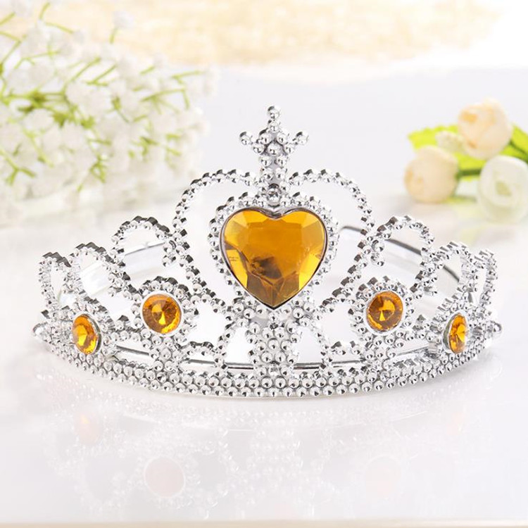 Headwear Tiara-Crown Silver-Color Girl Princess Rhinestone Plastic 1pcs Fashion