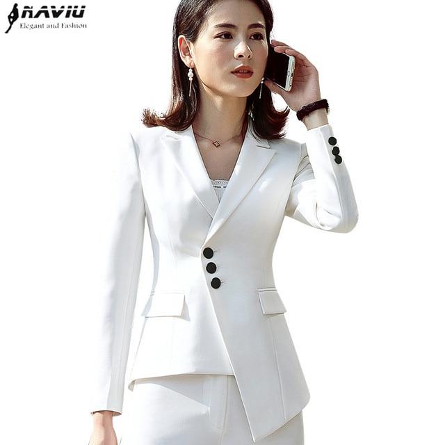 79027921a4c82a New career fashion women long sleeve blazer elegant plus size formal slim  jackets office ladies plus size work wear white black