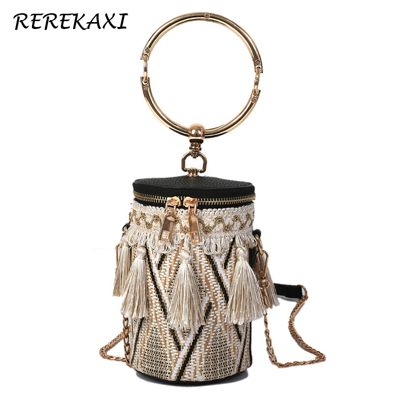 Women Bucket Bags Wristlets Straw Bag For Women Female Tassel Shoulder Bag Handbag Lady Messenger Crossbody Bags Chain Tote