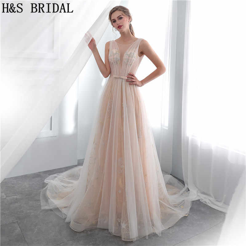 H S Bridal Champagne Simple Wedding Dress Sexy Sheer Lace Beach Wedding Gowns Dresses For Wedding Guest Vestidos