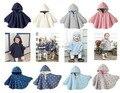 2014 otoño invierno del estilo de inglaterra de lana manto gusano doble cara desgaste 4 color del bebé del cabo Hoddies bebé lactante ropa de abrigo 4 - 24 M