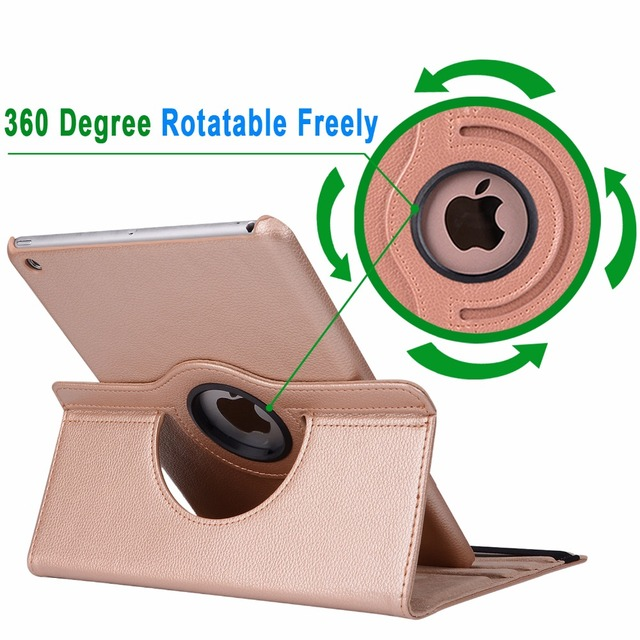 360Degree Rotating Leather Smart Cover Case for Apple iPad Air 1 Air 2 5 6 New iPad 9.7 2017 2018 5th 6th Generation Coque Funda 3