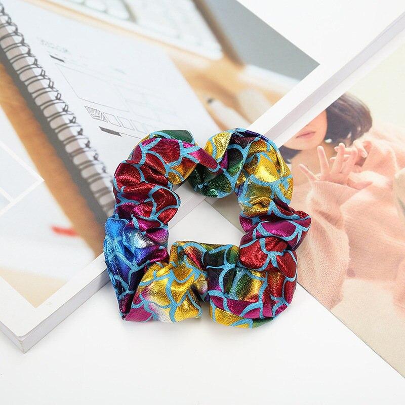 8Pcs Women Shiny Hair Ties Bands Mermaid Ponytail Holder Elastic Hair Scrunchies