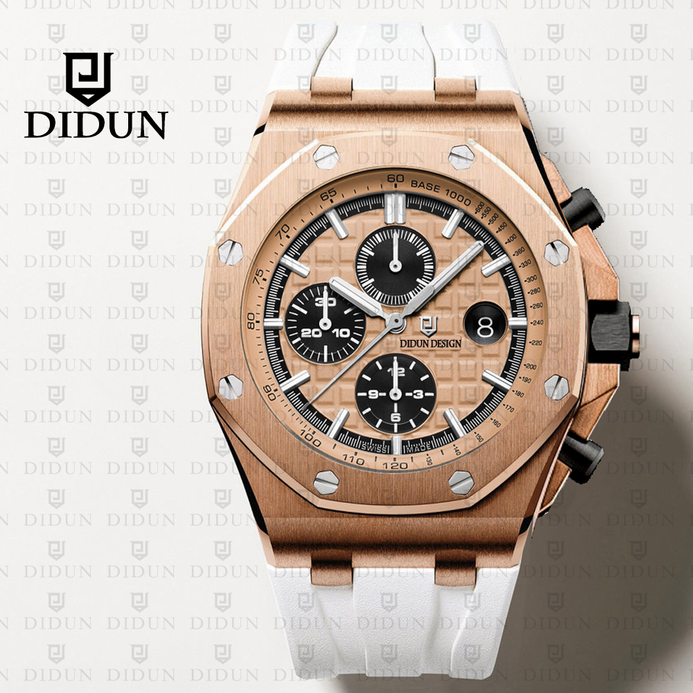 DIDUN Mens Watches Top Brand Luxury Quartz Watch Men Sport Full Steel Waterproof rosegold Clock men didun watches men luxury brand watches mens steel quartz watches men diving sports watch luminous wristwatch waterproof