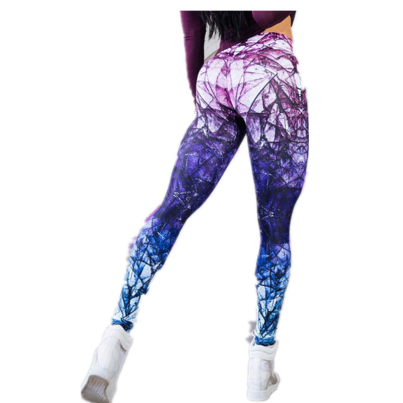 Mandala Leggings Purple Cube Gradient Magic Print Leggings Put Hip High Waist Legging Slim Pants Fitness Leggings Sweatpants
