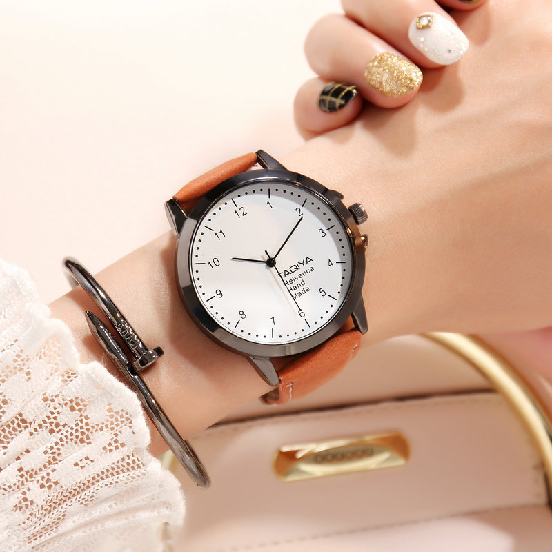 2017 Fashion Dress Watches Women Fashion Leather Band Analog Quartz Round Wrist Watch Women Watches Relogio Masculino