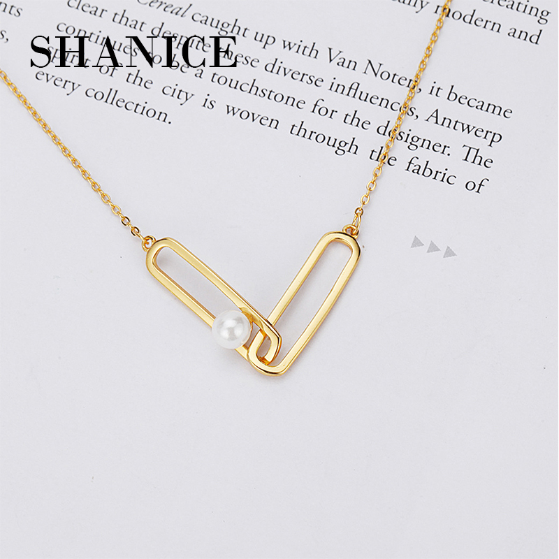 SHANICE 925 Sterling Silver Necklaces & Pendants Fashion Pearl Back Pendant Clavicle Set Chain Small Fresh Ornament Necklace