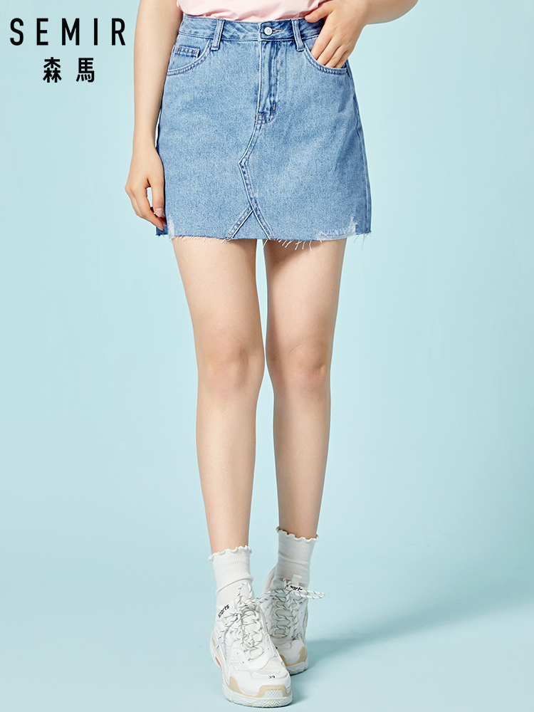 SEMIR Women Skirts Summer Plus Size Knee-Length A Skirt Female Vintage Suede Split Demin Skirts Jupe Femme Faldas Mujer