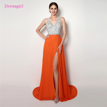 Orange 2019 Prom Dresses A-line Deep V-neck Chiffon Beaded Crystals Backless Long Women Prom Gown Evening Dresses Robe De Soiree
