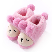 Winter Warm Indoor Slippers For Children Kids Baby Toddler Girls Fleece Plush Bedroom House Shoes Non
