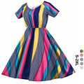 2016 Women Summer Vintage Dress Retro Striped Rockabilly 50s Classic Ball Gown Dresses Elegant Party Clothing Vestidos