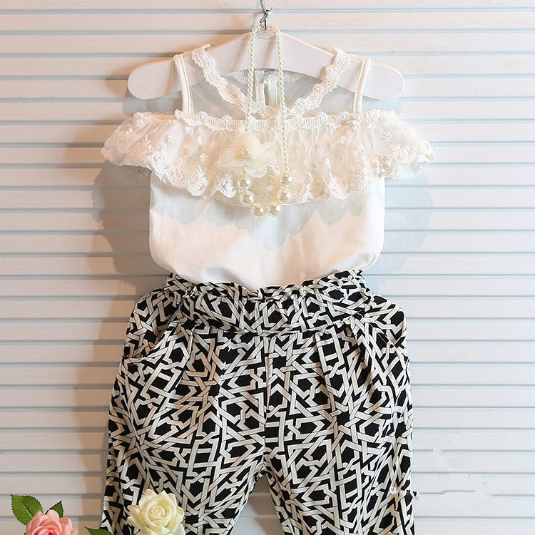 Fashion Girls Lace Floral Tops + Check Pants Outfits Brief New Clothes 2PCS Baby Toddler Girls Kids Clothes Summer Cute Set infant toddler kids baby girls summer outfit cotton striped sleeveless tops dress floral short pants girls clothes sunsuit 0 4y
