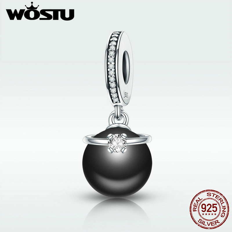 WOSTU HOT Sale 925 Sterling Silver & Black Pearl With CZ Ring Dangle Charm fit Original Beads Bracelet Pendant Jewelry DXC572 wostu hot sale 925 sterling silver radiant pineapple dangle bead fit original wst charm bracelet pendant jewelry gift cqc150