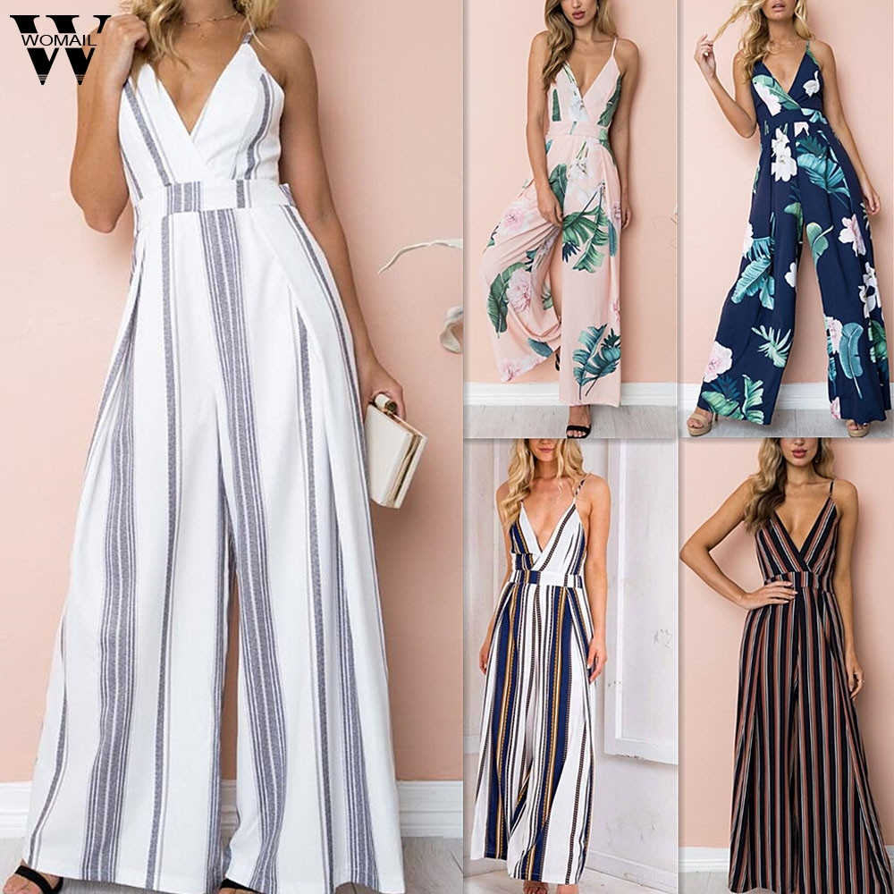 Womail Bodysuit Women Summer Sleeveless Strip Jumpsuit Print Strappy Holiday Long Playsuits Trouser Fashion 2019 F28