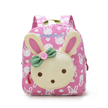 Lovely Cute Kids School Bags Rabbit Bear Dolls Applique Canvas Backpack Mini Baby Toddler Book Bag