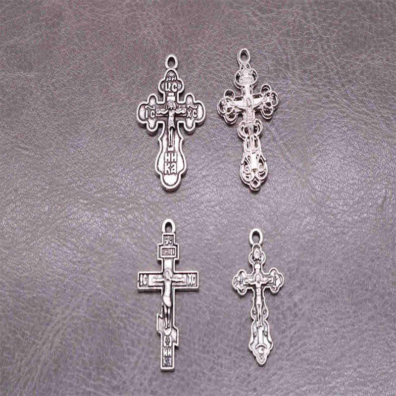 Orthodox Jesus cross vintage silver orthodox cross pendant. Rosary Necklace Bracelet Accessories 10 pieces